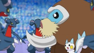 Mamoswine & Pachirisu! The Ice Chandelier - Decisive Blow!